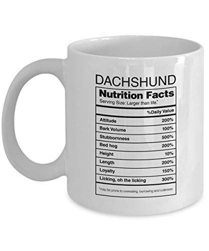 Dachshund Mug with Nutritional Facts Label and Dachshund Picture - Weiner Dog Coffee Mug … (11Oz)