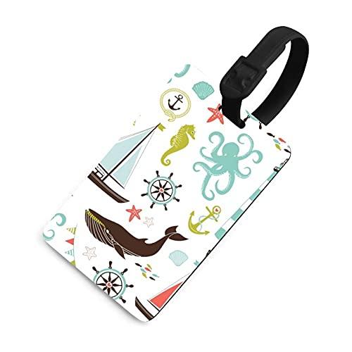 Etiquetas de equipaje para mujer, etiquetas de identificación de bolsa con cubierta de privacidad, accesorios para equipaje de viaje para maleta, avión, mochilas, náutico