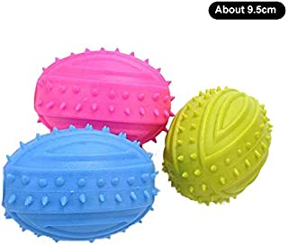 Toy Dog, Rubber Chewing Dog Toy, Tooth Cleaning Dog Toys for Small Dogs Healthy molars 3 (Color : Rugby, Size : Free Size)