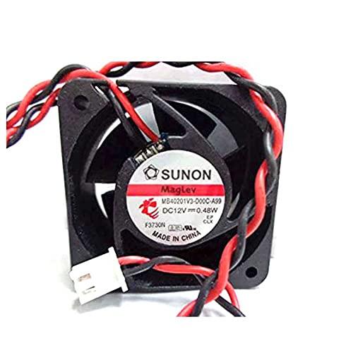 SCYHGLM Cooling Fan for MB40201V3-D00C-A99 4cm 12V 0.48W 5200RPM 6.3CFM 18dBA,Mute Fan MB40201V3-D00C-A99 40x40x20mm 2Wire