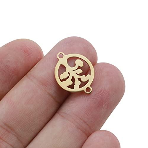 PJ1 10 unids / lote 15 mm de acero inoxidable, encantos de árbol de árbol de la vida de la pulsera conjunta con el collar de la pulsera del encanto de la pulsera para la fabricación de joyas hechas a