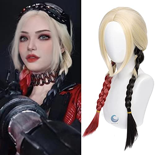 Long Blonde Wig with Red and Black Braided Wigs Ponytails Pigtails Clown Cosplay Costume Cosplay Halloween Women 2021