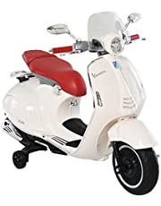 HOMCOM Moto Eléctrica Vespa Faros Música 2 Ruedas Auxiliares para Niños Mayores de 3 Años Motocicleta Infantil Autorizada 108x49x75 cm