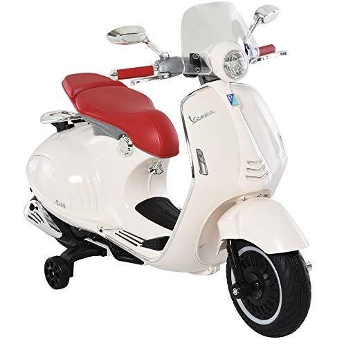 HOMCOM Moto Eléctrica Vespa Faros Música 2 Ruedas Auxiliares para Niños Mayores de 3 Años Motocicleta Infantil Autorizada 108x49x75 cm Blanco