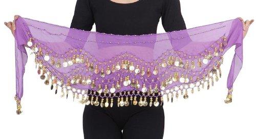 The Turkish Emporium Pañuelo para el Vientre Color púrpura con Monedas Brillantes, Accesorio de Vestuario de Danza del Vientre