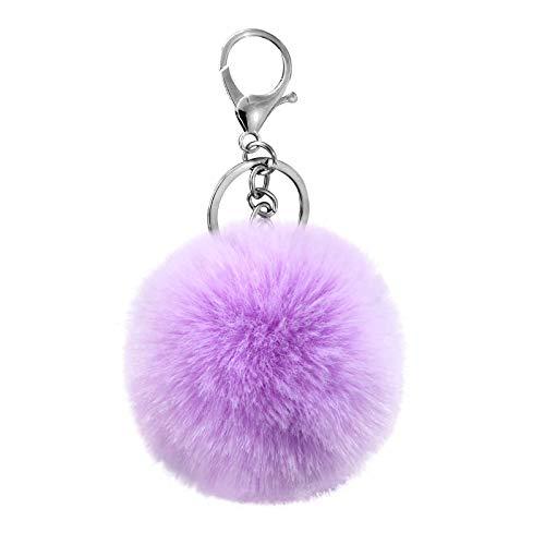 Cute Faux Rabbit Fur Ball Pom Pom Keychain Cityelf Car Key Ring Handbag Tote Bag Pendant Purse Charm (Lightpurple)