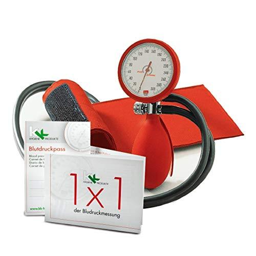 boso clinicus II mit Klettenmanschette Ø 60 mm | inkl. KK Blutdruckpass + 1 x 1 der Blutdruckmessung (Rot)
