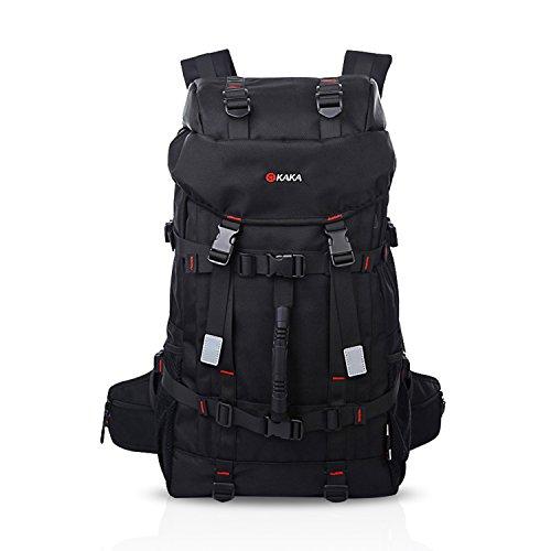 FANDARE ファッション登山のバックパック多機能リュックサックアウトドア旅行ハイキング男性女性高級品大容量収納抜群防水ポリエステル 55L 黒