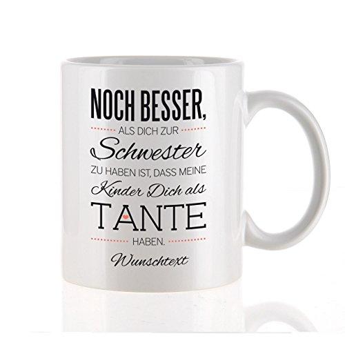 Herz & Heim® moderne Kaffeetasse als Kompliment für die beste Tante mit Gratis Druck Ihres Wunschtextes meine Kinder