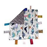 Baby Soothing Sensory Security Blanket & Soft Plush Lovey Toy with Closed Ribbon Tags Lovey Soft Comfort Blanket