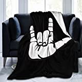 ASL American Sign Language I Love You Flannel Fleece Throw Blankets for Bed Sofa Living Room Soft Blanket Warm Cozy Fluffy Throw Plush Blanket