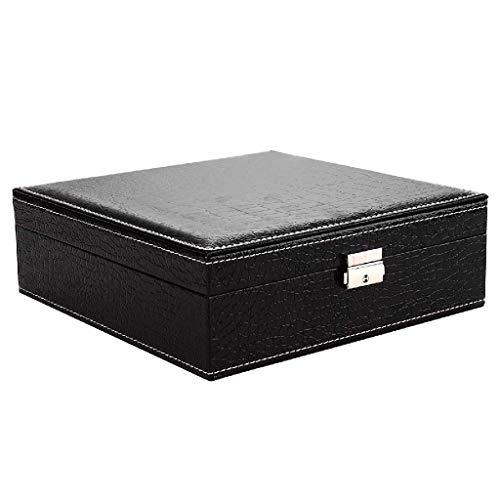 SCDZS Joyero - joyero de Almacenamiento Caja, Buckle, Pendientes, Collar, Anillo, Vestido de la Muchacha, Negro