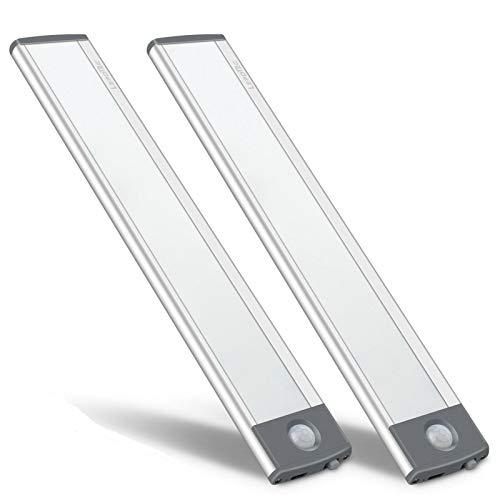 LED Motion Sensor Cabinet Light,Under Counter Closet Lighting, Wireless USB Rechargeable Kitchen Night Lights,30-LED Battery Powered Light,Uniform Light for Wardrobe,Closets,Cabinet,Cupboard-2Pack