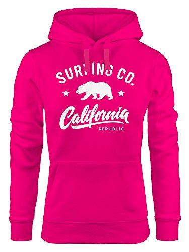Neverless Sudadera con capucha California Republic Bear Bear Summer Surfing con capucha para mujer rosa M