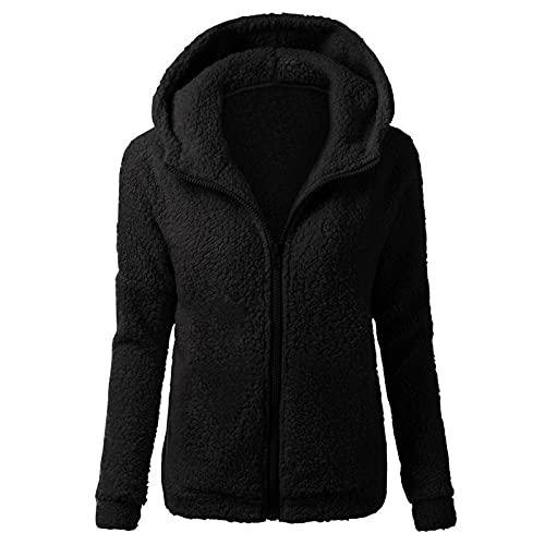 여성용 NAMTYQX 겨울 재킷 퍼지 플리스 재킷 캐주얼 롱 슬리브 웜 코트 아웃웨어