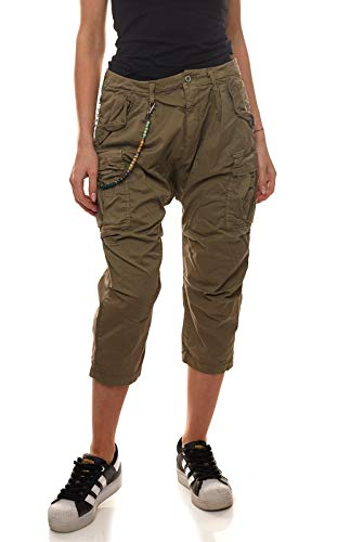 Please P1UG 7/8-Hose Bequeme Damen Harems-Hose mit Cargo-Taschen Stoff-Hose Freizeit-Hose Khaki, Größe:S