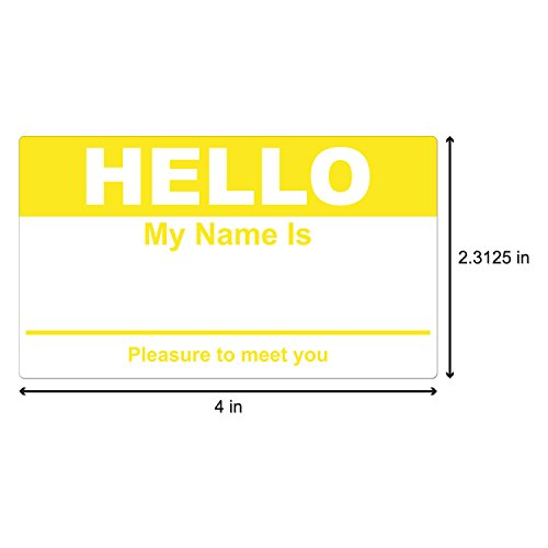 Yellow Hello My Name is Name Badge Tag Labels Stickers - 1 Roll Photo #2