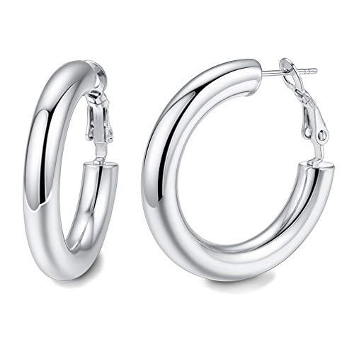 Pendientes Redondos 30MM 5MM Tubos Huecos Aros Dudaderos Hipoalergénicos Pequeños para Mujeres y Muchachas Joyería Moderna para Oídos Piercing