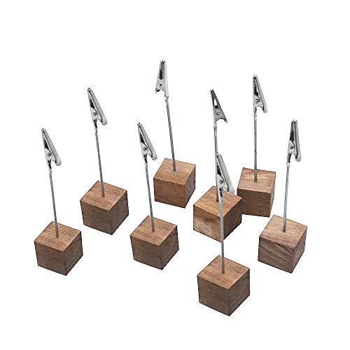 LZYMSZ 8 Stück Holz Memo-Clip-Halter, Bildhalter mit Clips, Holzsockel, Memo-Fotoclip, Fotowürfel für Bilder mit Krokodilklemm-Verschluss (Holzsockel)