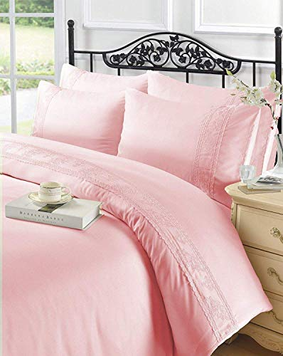 EGYPTO Polyester Duvet Set - Lace Design Bedding Comforter with Soft Matching Pillowcases for Single Bed (Pink)