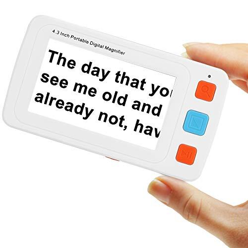 Kacsoo Lupa digital Ayuda de lectura electrónica 4.3 pulgadas / 5.0 pulgadas Video portátil Lupa digital Lupa para baja visión y daltonismo, 17 modos de color 5 niveles de brillo (4.3-inch White)