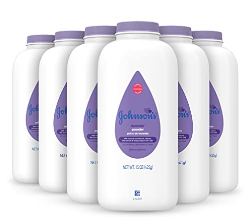 Johnson's Lavender Baby Powder with Naturally Derived Cornstarch, Hypoallergenic and Paraben Free, 15 oz, Packaging May Vary (Pack of 6)