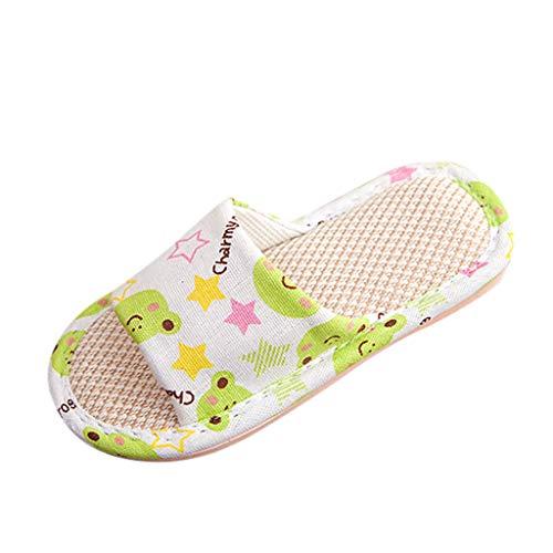 VECDY Zapatos Bebe Verano 2019, Zapatillas De Lino De Dibujos Animados Unisex para Nios Pequeos para Nios Pequeos para Nios Zapatos Transpirables De Casa Moda Fresco Simple (Verde,34-35)