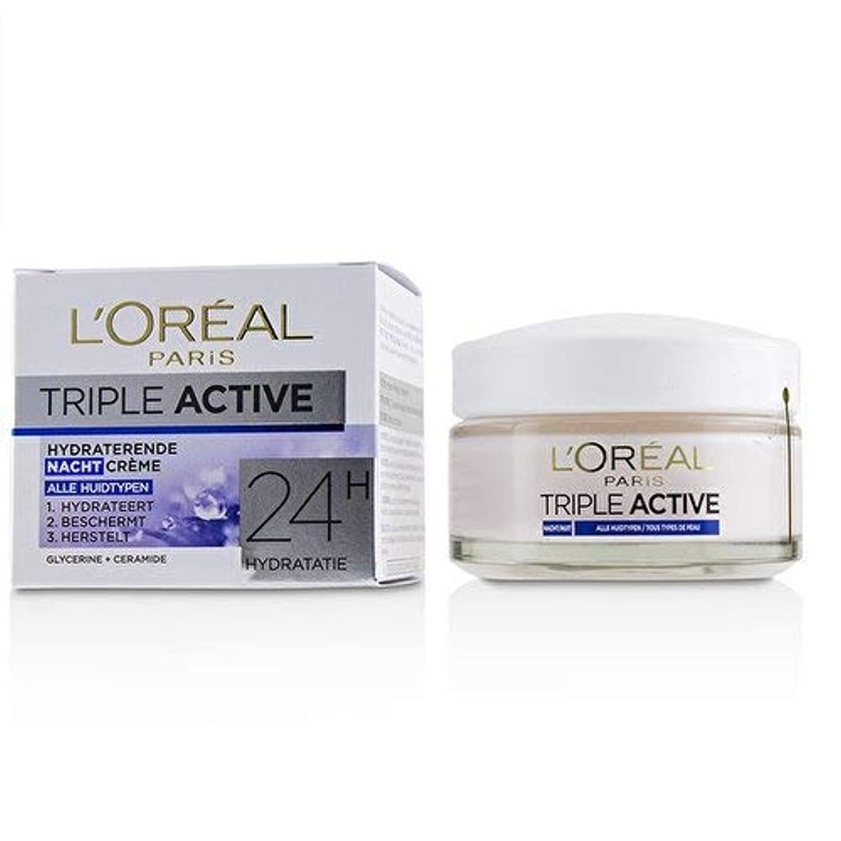 構成リダクター敬ロレアル Triple Active Hydrating Night Cream 24H Hydration - For All Skin Types 50ml/1.7oz並行輸入品