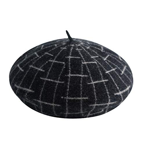 ZWJ-berets Berets Ladies Painter Hat Checkered Beret Spring and Autumn Winter Warm Hat Retro Fashion Beanie Hat (Color : Black)