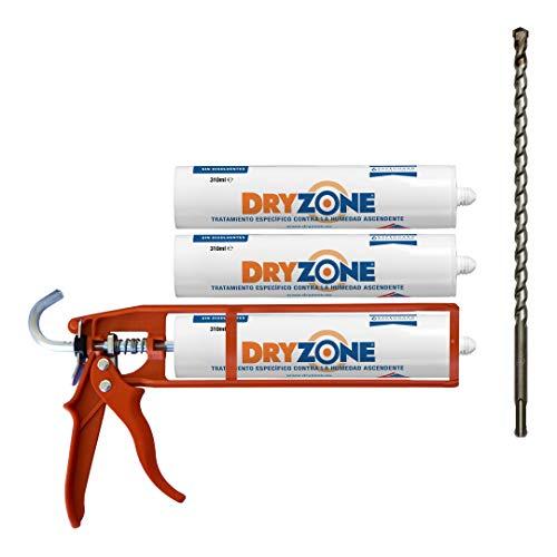 Dryzone kit de inyección química para tratamiento de humedad capilar anti-derrames - Incluye gel de inyección + Pistola de calafateo + Broca Dryzone (cubrimiento de 5 metros)