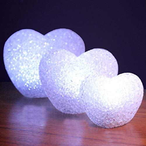 WXIFEID 12cm Weiße Herz-Indoor Dekorative LED-Nachtlicht Romantische 3D-Liebes-Herz-Valentinstag Hochzeit Dekoration