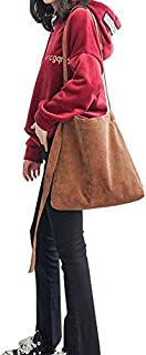 Elonglin Women's Handbag Large Totes Canvas Bags Shoulder Shopping Bags Hobo Travel Beach Bags Brown