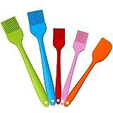 Spatula Cocina y Pincel Silicona Set, KANOSON 5 Piezas Brocha de Pastelería e Lengua Silicona, Utensilios Cocina Silicona/Espatula Cocina Silicona/Pinceles e Cocina(5 Color)