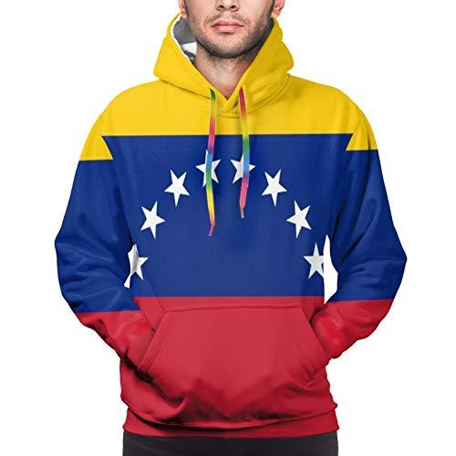Bandera de Venezuela Unisex Ligero Realista 3D Impresión Digital Sudadera con Capucha Sudadera con Capucha Jerseys Manga Larga Atlético Casual Camisas activas, L