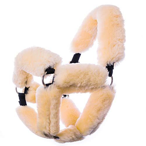 Merauno® Halfter Set Lammfell Nasenschoner Nasenriemenschutz für Halfter Trensen Kopfstück Backenstücke Zaumrohr Echte Lammwolle 9-teiliges Halfter Set Mehrere Größen (Natur, 9 Stück Halfter Set)