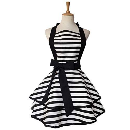 XMBFZ Women Aprons Cute Retro Cotton Cooking Polka Dot Extra Pocket Vintage Apron Dress Gift for Women Girls,Black-A