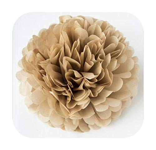 MEILLEUR Pompons:décoration de Mariage Accessoires 20 25 30 cm Pom Pom Papier de Soie Pompon Boule Fournitures de fête anniversaire-tan-6inch 15cm