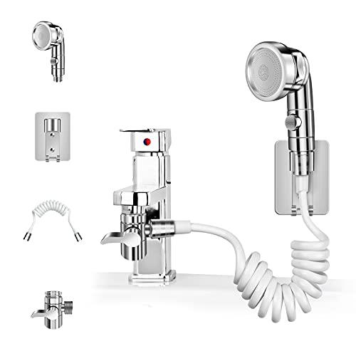 Duschkopf Duschbrause Handbrause Set Extern für Waschbecken Duschkopf mit Schlauch und Ständer Badinstallationen Perfekt zum Waschen Haare oder zum Reinigen des Waschbeckens und Bidet