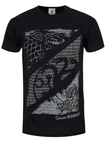 Game of Thrones, t-shirt di colore nero, con lupi, draghi e leoni Black 46-48/S