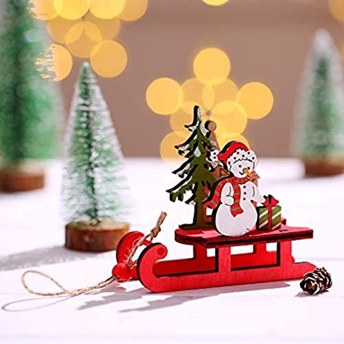 Christmas Decoration, Santa Claus Standing DIY Wooden Color Assembled Sleigh for The Elderly, Reindeer-Drawn Carts and Children's Small Gifts (The Deer)