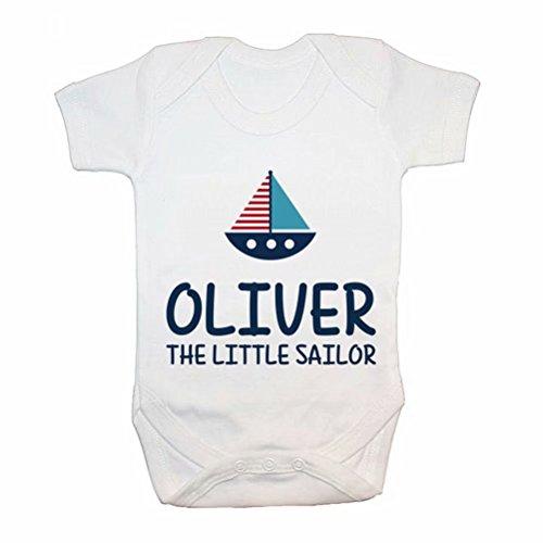 DKISEE Mono de bebé unisex personalizado pequeño marinero blanco divertido mameluco de manga corta bebé mono 9 meses