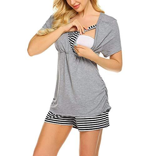 Conquro Verano Ropa Mujer Premamá Embarazadas Pijama Entero Lactancia Conjunto Maternidad Primavera Embarazo Ropa para Dormir Hospital Conjunto Camiseta y pantalón Corto Lactancia Maternidad