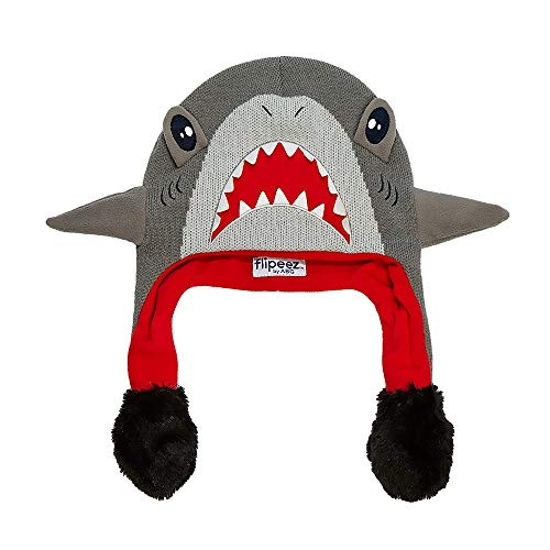 ABG Accessories Boys' Little Shark Squeez and Flap Fun Cold Weather Hat, Grey/red, Age 4-7