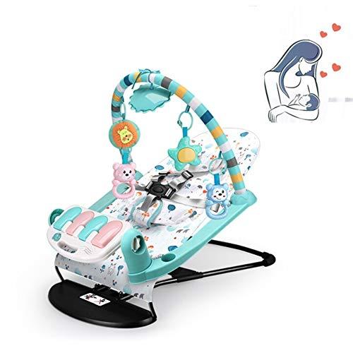 Baby Schaukelstuhl, Baby Wiege Liege, Mit Klavier + Kopfstütze + Musik + Weiches Licht + Fernbedienung, Offene Baby Intelligenz, Geeignet (0-3 Jahre Alt)