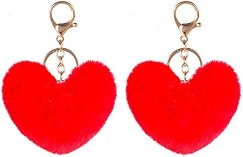 2PCS Pom Poms Keychains Fluffy Heart Shape Pompoms Keyring Faux Rabbit Fur Key Chain for Car product image