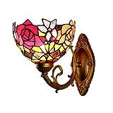 Jsyuany Lámpara de Pared de Estilo Tiffany Lámpara de Noche de Dormitorio, Pantalla de Vidrio de Color Luz de Pared Industrial Retro, Lámpara de Espejo de BañO Sala de Estar Iluminación de Pared E27