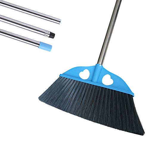 YONILL Indoor Dust Broom with Long Handle - Angle Broom for Hardwood Floor Cleaning Inside Soft Sweeping Brooms for House and Kitchen