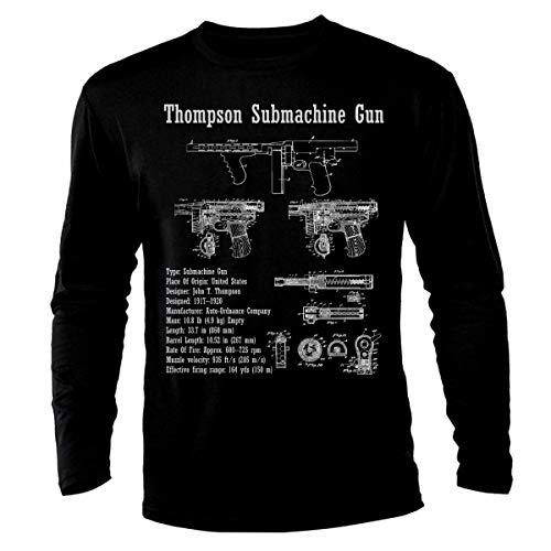 Thompson Submachine Gun Tommy Gun Mafia Blueprint Patent Machinepistool met lange mouwen T-shirt