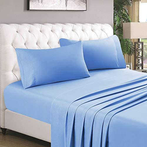 HOMEIDEAS 4 Piece Bed Sheet Set (Queen, Sky Blue) 100% Brushed Microfiber 1800 Bedding Sheets - Deep Pockets