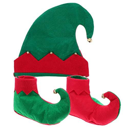 BSTQC Juego de disfraz de elfo para niños y niñas con gorro y zapatos de elfo de Navidad